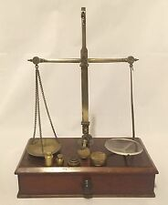 Antique Apothecary Chemist Brass Balance Scales & Weights by P.Rogers in Box