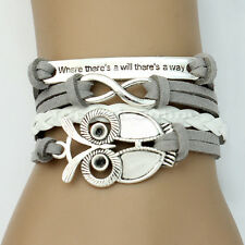 Women Fashion Trendy Infinity Owl Friendship Antique Leather Cute Charm Bracelet