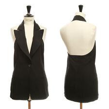 ANN DEMEULEMEESTER black halter backless waistcoat vest top S FR36 US4 UK8