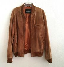 Vintage Norm Thompson Leather Jacket Brown Weather Ready Suede Men's 42 Coat