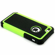 New Green And Black Heavy Duty Hard Case Cover + Screen Guard For iPhone 5C