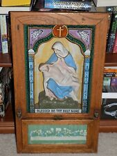 Antique Blessed Be Thy Holy Name Last Rite Alter Shrine Shadow Box Catholic Art