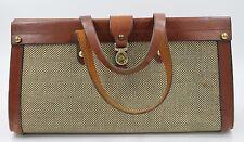 Vintage John Romain Leather & Tweed Handbag Brass Hardware. Free Shipping!