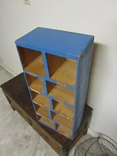 Vintage Wooden Shadow Box Folk Art Display Wall Shelf Organizer Blue Painted