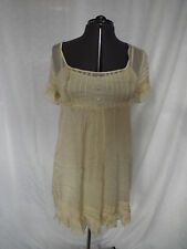 Lipsy Babydoll sheer dress with slip in Cream . Size M
