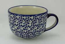 Bunzlauer Keramik Tasse Cafe Latte, Milchcafe - blau/weiß - 0,45Liter, F044-P364