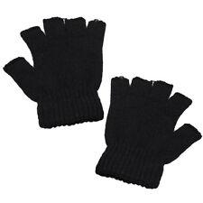 Stretch Strickhandschuhe Herren Frauen Fingerless Winter Warmer Mittens Schwarz