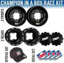 "DWT Black Champion in a Box 10"" Front 8"" Rear Beadlock Rims Rings Yamaha YFZ450R"