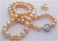 fashion 7-8mm pink akoya cultured pearl necklace earring set 18""