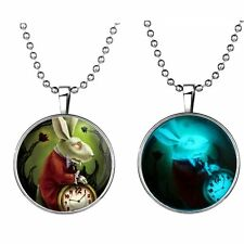 Steampunk Glow in the Dark Mr Rabbit Clock Alice in Wonderland Pendant Necklace
