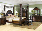 NORTH SHORE - 5pcs TRADITIONAL CHERRY KING CANOPY MARBLE BEDROOM SET FURNITURE