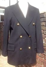 Jaeger Double Breasted Black Gold Button Wool Blazer - Size 12 EXCELLENT COND