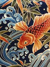 RPG/B249C Japanese Koi Fish Water Sea Wave Asia Exotic Japan Cotton Quilt Fabric