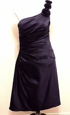 BILL LEVKOFF Navy Cocktail Party Dress 10 Semi Formal Ruched Flowers Strap