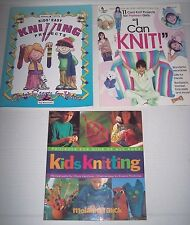 Lot 3 Kids Knitting books I Can Knit instructions beginners 34 easy projects