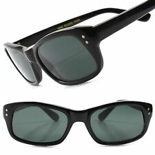 True Vintage Deadstock Old 80s Fashion Mens Black Rectangle Hipster Sunglasses