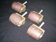 Vtg Lot 4 Casters Metal Wood Plastic Wheels Parts Restoration Patina Rustic Set