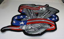 """Patch ecusson dorsal """"moteur et drapeau usa"""" harley, moto; rockabilly, biker,"""
