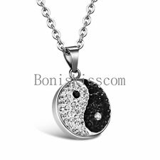 Black & Silver Lucky Yin Yang Ba Gua Tai Chi Stainless Steel Pendant Necklace