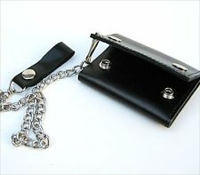 BLACK LEATHER Biker's style Trifold Chain Wallet ID Card Holder Motorcycle New