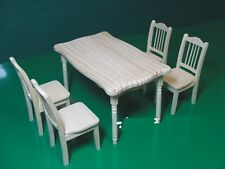 Doll Furniture Dinning Table and Chairs unpainted -- 1:6 scale Barbie