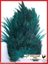 Dyed Grizzly Bright Green Cock  Saddle for fly tying -  by irish Lough Flies