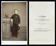CIVIL WAR ERA CDV PHOTO PORTRAIT OF A BOY WEARING UNIFORM & PHILADELPHIA STUDIO