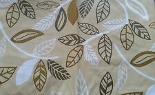 """RARE PEVA Vinyl Tablecloth 60"""" ROUND (seats 4 people) Leaves # 5, white & brown"""