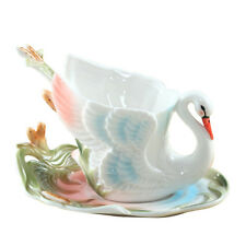 3D Colored Enamel Coffee Mug Cup Set Porcelain Swan Milk Bone China Wedding Gift