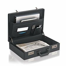 "SOLO Vinyl Expandable Attache 12.5""x17.5""x4"" Business Cases - Black"