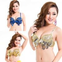 Sexy Women Twinkling Sequined Belly Dance Bra Top Beaded Fringe Dancing Costume