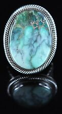Sterling Silver Navajo Ring Rare Gem Grade Damele Turquoise Signed By Ned Nez