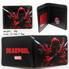 USA Seller - NEW - Marvel Comic Deadpool Blade Red Black Logo PU Bi Fold Wallet