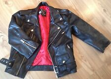 Genuine Leather Vtg Skinny Cropped Red Lining Motorcycle Biker Moto Jacket 8 4