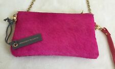 Monserat De Lucca Pelo Pink Calf Hair Pouchette Clutch Crossbody Wristlet NEW