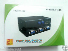 2 Port VGA Switch - (Manual) Connect 2 Monitors to 1CPU/2 CPU to1Screen