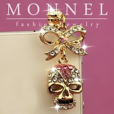 ip157 Cute Skull & BOW Crystal Anti Dust Plug Cover Charm for iPhone 4 4S