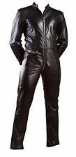 MENS GENUINE COW LEATHER CATSUIT OVERALL BODYSUIT JUMPSUIT