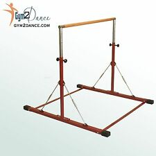 "Gymnastics Bar, LE Brick Red  Adjustable 3' to 5', 1.5"" solid wood, Junior Kip"