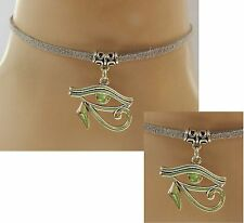 Silver Eye of Horus Choker Necklace Handmade Adjustable Grayy new fashion