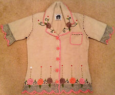 """Storybook Knits """"Roses"""" Crochet Cardigan Sweater - BRAND NEW"""