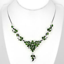 Sterling Silver 925 Genuine Natural Chrome Diopside Cluster Necklace 18 Inch #2