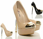 NEW WOMENS LADIES HIGH HEEL METAL TOE PLATFORM PARTY EVENING COURT SHOES SIZE