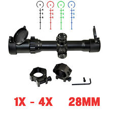 Sniper® Tactical Scope 1-4X28 Hunting Rifle Scope; Horseshoe Ill Reticle + Rings