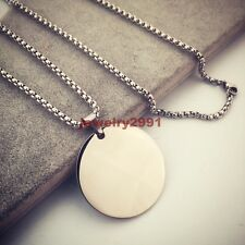 Classic Shinny Silver Mens Stainless Steel Round Medallion Pendant Necklace 30mm