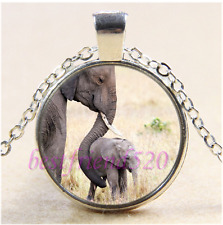 Elephant Motherly love Cabochon Glass Tibet Silver Chain Pendant Necklace#G43