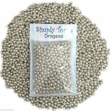 Plata Azúcar Peladillas 4mm 30g perlas brillo decoración pasteles, cupcakes