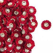 Sequins Appliques Small Decorative Red Appliques Floral Sewing Craft 12 pcs