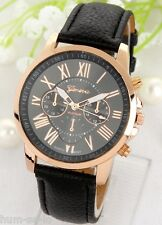 HOT SELLING GENEVA BRAND CHRONOGRAPH STYLED WOMEN'S WRIST WATCH - BLACK