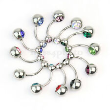 12x Piercing Ombelico Barra Colorati 316L Acciaio Chirurgico Strass Idea Regalo